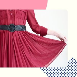 Red Pleated Mini Dress and Belt — Xtaren